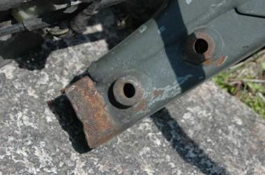 偵察オートバイXLR250Rのフレーム溶断部分